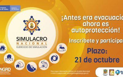 Este jueves 22 de octubre habrá Simulacro Nacional