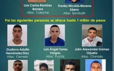 Ellos son los 9 más buscados en El Espinal, se ofrece recompensa